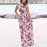 HODOD Women's Summer Floral Print Faux Wrap Maxi Long Dresses