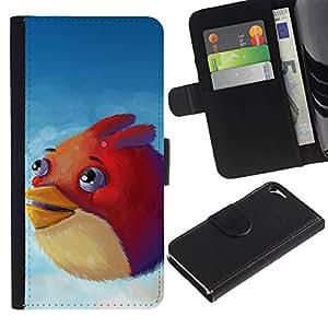 EJOY---Tirón de la caja Cartera de cuero con ranuras para tarjetas / Apple Iphone 5 / 5S / --Angry Birdz
