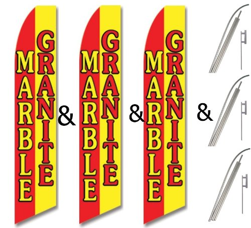 3 Three Pack Swooper Flags /& Pole Kits Alternating Red Yellow MARBLE GRANITE