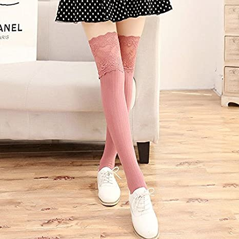 22d2a972f Image Unavailable. Women Lace Cable Knit Over Knee Long Boot Thigh High  Warm Socks Leggings Pink