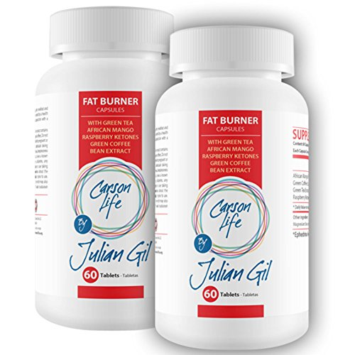 CARSON LIFE Fat Burning Pills By Julian Gil - 2 Pack, 60 Pills Each - Energy Boosting Formula With Green Tea, African Mango, Raspberry Ketones, Green Coffee Bean Extract - Burn Fat Increase Metabolism