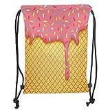 Custom Printed Drawstring Sack Backpacks Bags,Ice Cream Decor,Waffle Pattern with Cherry Flavor on Yummy Summer Dessert Cute Image Decorative,Mustard CoralSoft Satin,5 Liter Capacity,Adjustable Strin