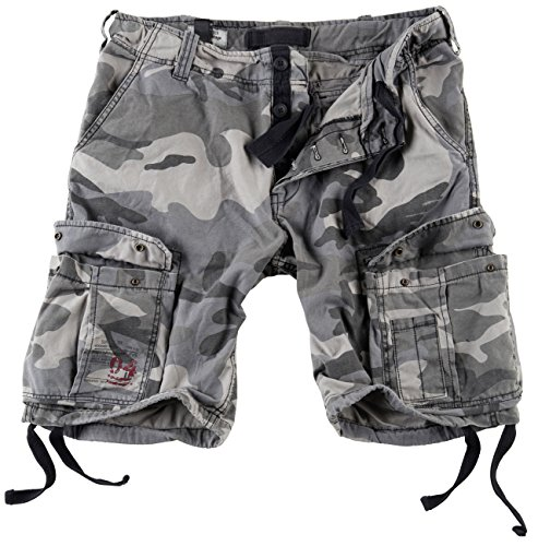 Surplus Men's Airborne Vintage Shorts Washed Night Camo Size XL