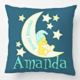 ALEX Throw Pillow Case Decorative Cushion Cover Cotton Polyester Sofa Seat Square Pillowcase Design With Personalised Sweet Dreams Teddy Bear Custom Pillow Case Print Double Side Sized 18X18 Inches