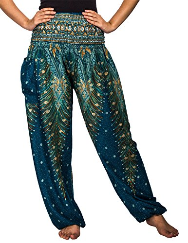 Lofbaz Women's Peacock Print Smocked Waist Harem Pants Teal Green L