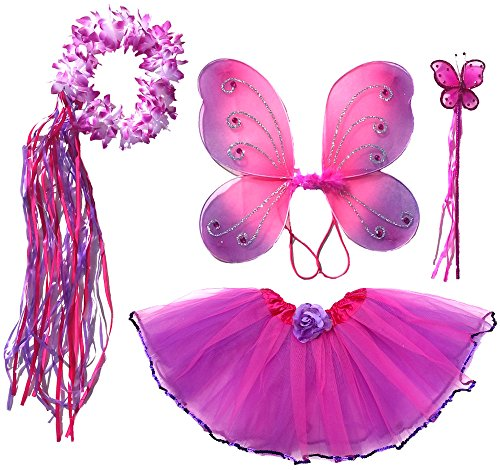 Girls Fairy Costume with Wings, Tutu, Wand & Halo Fits Age 2-7 (hot pink and purple)