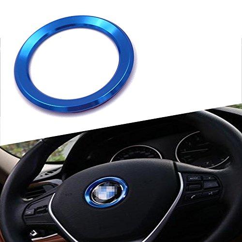 Thor-Inst Steering Wheel Center Decor Logo Ring Trim For BMW New 3 Series 320 GT5 Series X1 X3 X4 X5 X6 E46 E30 E34 E36 E39 E53 E60 E90-Multimedia audio button start car sticker (Blue)