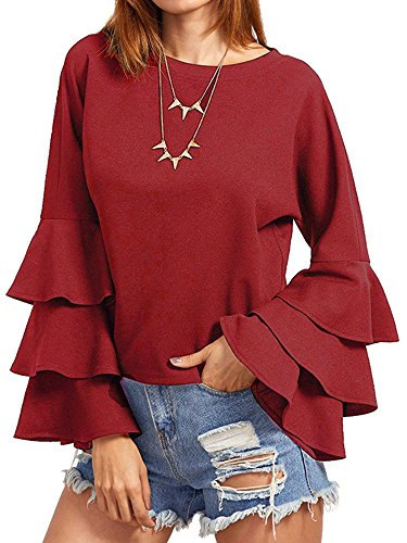 SIMSHION Women's Elegant Trumpet Sleeve Casual Blouse Long Sleeve Tops Shirts Wine Red XL ()