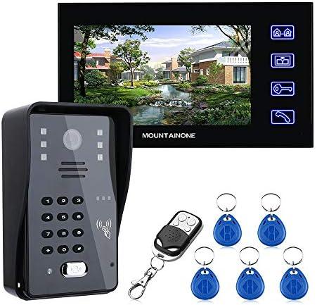 7インチのビデオドア電話インターホン呼び鈴付きRFIDパスワードIR-CUT 1000TVラインカメラワイヤレスリモートアクセスコントロールシステム