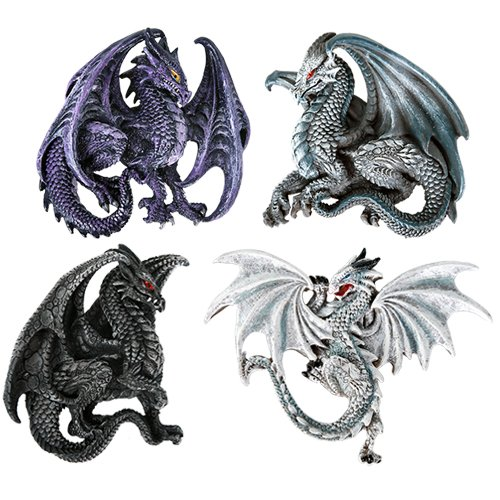 Collectible Magnet (Dragon's Lair Ruth Thompson Set of 4 Collectible Sculptural Dragons Refrigerator Magnets Gift Decor)