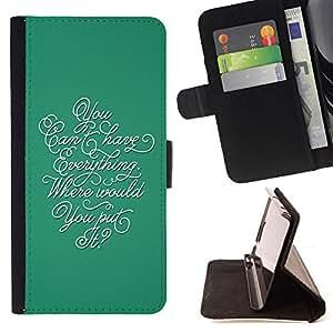 - INSPIRING CALLIGRAPHY THOUGHT TEAL EVERYTHING - - Prima caja de la PU billetera de cuero con ranuras para tarjetas, efectivo desmontable correa para l Funny HouseFOR Samsung Galaxy S5 V SM-G900