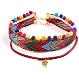 Women Charm Vintage Leather Woven Leaf Pendant Necklace Chunky Collar NiceShopping