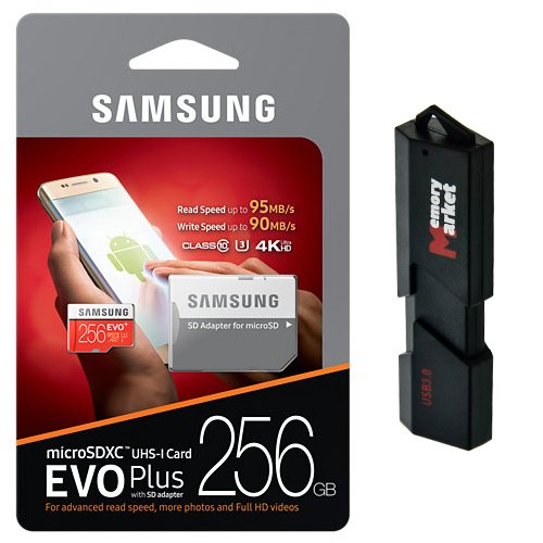 Samsung 256GB MicroSD XC Class 10 Grade 3 UHS-3 Mobile Memory Card for Samsung Galaxy S8 Active J7 J727V Max Pro with USB 3.0 MemoryMarket Dual Slot MicroSD & SD Memory Card Reader by Generic (Image #5)