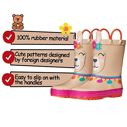 KomForme Kids Girl Boy Rain Boots, Waterproof Rubber Printed with Handles