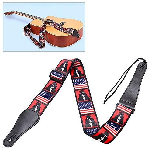Baisidai Guitar Strap For Acoustic Electric Guitar Bass Leather UK US Flag Doodle Slash#01