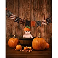 Allenjoy 5x7ft photography backdrop background Halloween banner fall pumpkins wood basket brown wooden floor wall newborn baby shower props photo studio booth