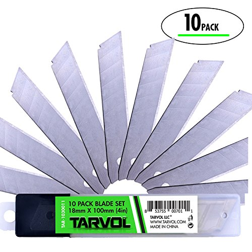 Box Cutter Utility Knife Blades (VALUE 10 PACK) - 4Inch Length - Fits Most Utility Knives - Premium Grade Strength - Snap Off Blades - Perfect Hobby Knife for Cutting Cardboard, Boxes, and More! - Snap Off Blade Utility Knife