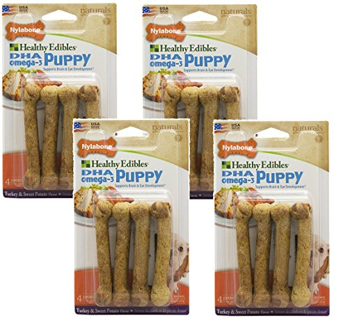 16 Count Nylabone Healthy Edibles Turkey Sweet Potato Flavored Puppy Dog Treat Bones, Size Petite - (4 Packs 4 per Pack)