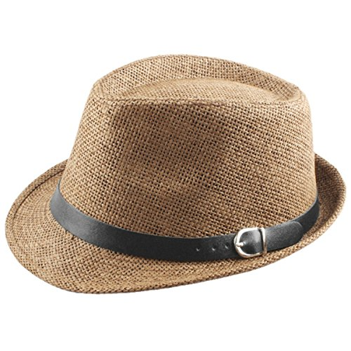 Samtree Fedora Hats for Women Men,Short Brim Belt Braid Straw Jazz Cap(Khaki)