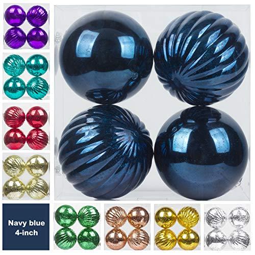KI Store Christmas Ball Ornaments Hanging Tree Ornament Decorations Large Shatterproof Vintage Mercury Balls (Blue, 4-Inch) (Blue Ball Ornaments)