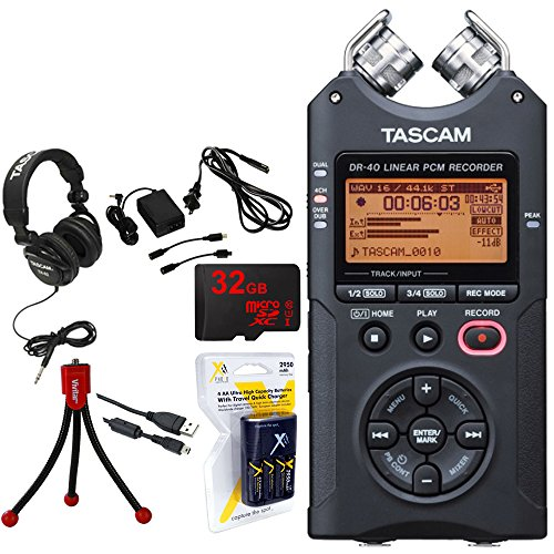 Tascam Portable Digital Recorder (DR-40) w/Bundle + 32GB Micro SD Card + AA Charger (100-240v) w/ 4 2950mah AA Batteries + Flexible Mini Table-top Tripod + Closed-Back Headphones + Tascam AC Adapter by Tascam