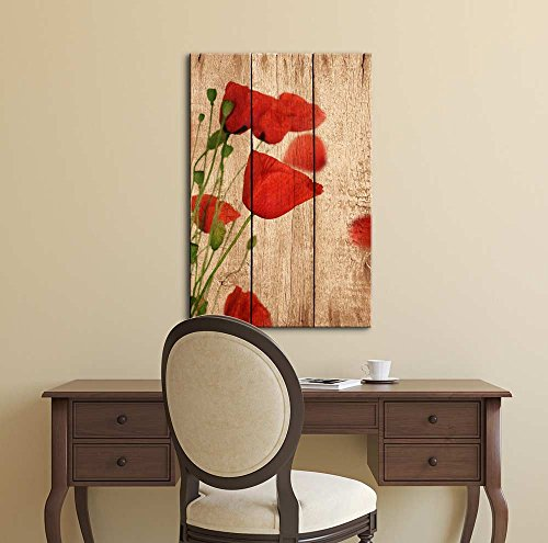 Poppy Flowers on Vintage Wood Background