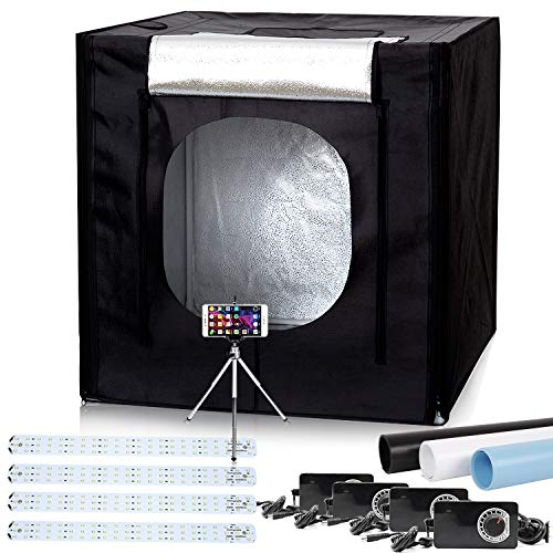 """40""""x40""""x40"""" LED Large Photography Shooting Tents 384pcs 5500K Lights Cube Box Tents Kit for Photo Studio Lighting with Dimmer Adapter,Mini Tripod and 3 Colors PVC Backgrounds in Carrying Bag from Konseen"""