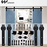 WINSOON Sliding Barn Wood Door Hardware Cabinet Closet Kit Antique Style for Double Doors Black Surface (5FT /60'' 2 Doors Track Kit)