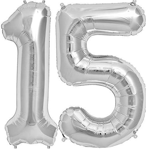 Tellpet Silver Number 15 Balloon 40 Inch