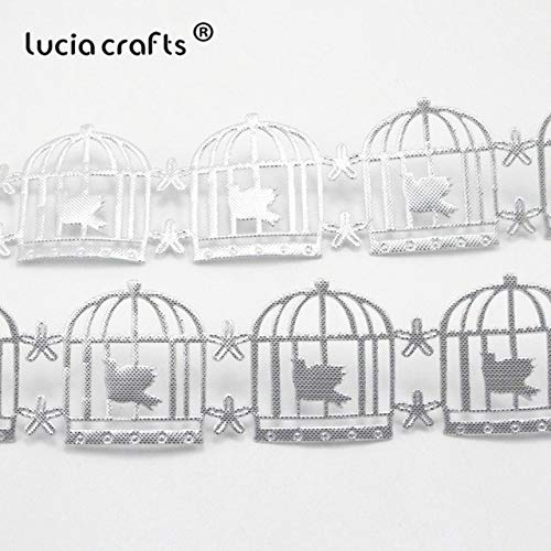 Lace Crafts - Sale 32mm Birdcage Shape Ribbon Sewing Craft Lace Embellishment DIY Garment & Home Decoration 2yards/lot 040051054 - (Color: Silver) -