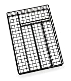 Lipper International 8177 Flatware Organizer, 5 Compartments, Metal Wire, 10'' x 14'' x 2-1/8'', Black