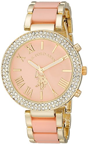 U.S. Polo Assn. Womens USC40063 Gold-Tone and Pink Bracelet Watch