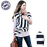 Baby Wrap Ergo Carrier – 4-1 Soft Cotton Ergonomic Sling and Nursing Cover Newborn to 35 lbs. – Lightweight Stretch and Breathable with Carrying Pouch – Men Women and Infant Approved Great Shower Gift