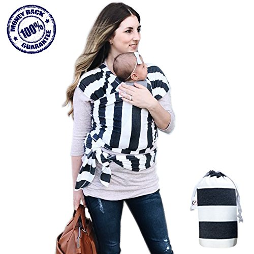 Baby Wrap Ergo Carrier - 4-1 Soft Cotton Ergonomic Sling and Nursing Cover Newborn to 35 lbs. - Lightweight Stretch and Breathable with Carrying Pouch - Men Women and Infant Approved Great Shower Gift