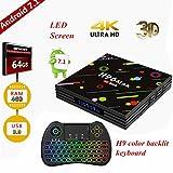 [Version 2018] TV box, H96 Max Android 7.1 TV Box 4GB RAM + 64GB ROM / RK3328 Quad Core / H.265 / 3D 4K Ultra HD Smart TV Box with wireless mini backlit colorful keyboard
