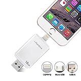 HIOTECH® 8 Pin Lightning iFlash Drive, USB 2.0 To 8 Pin Lightning iFlash Drive Memory Stick To Add Extra Storage for iPhone 5/5S/5C/6/6 Plus/6S/6S Plus, iPad 4/Mini/ Air/Mini 2, iPod, Mac And Laptop