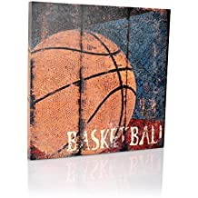 "Basketball Sports Canvas Wall Art | Boys Bedroom Décor | Kids Room | Vintage Sports Art | Baskeball Decor | For Sports Room & Game Room | Great Gift | Large Size 18""x18"""