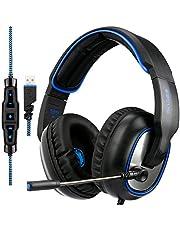 Casque de jeu SADES R7 Gaming Headset, Casque de jeu stéréo sur casque USB avec prise en charge du son ambiophonique virtuel 7.1 canaux avec microphone rétractable EQ Bass Boost pour PC et Mac (noir)