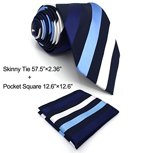 Blue Stripe Silk Tie (Shlax&Wing Stripes Men's Neckties Blue White Silk Ties For Men Business Suit)