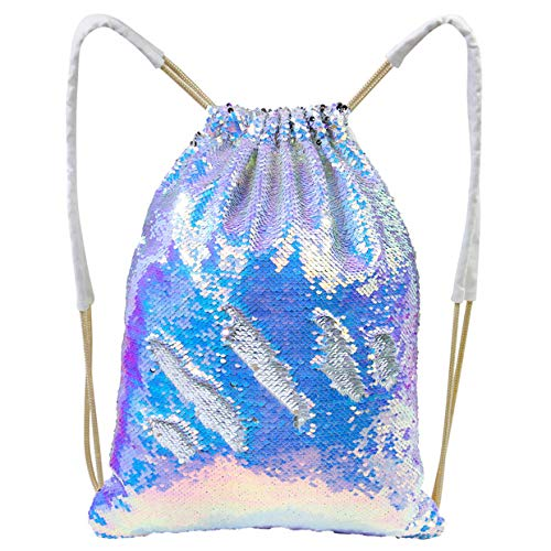 25535bdbba82 Play Tailor Mermaid Sequin Bag, Reversible Sequins Drawstring Backpack  Glittering Outdoor Sports Bag Dance Bag