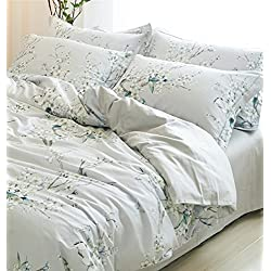 Garden Chinoiserie Floral Duvet Quilt Cover Asian Porcelain Style Tree Blossom and Birds Blue and White Watercolor Pattern 300tc Cotton Percale 3pc Bedding Set (King, Ice Grey)