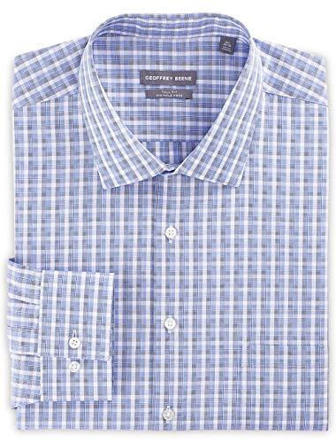 Geoffrey Beene Big and Tall Tonal Plaid Dress Shirt Blue ()