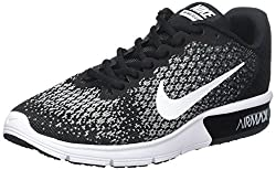 Nike Women's Air Max Sequent 2 Running Shoe Blackwhitedark Greywolf Grey Size 10