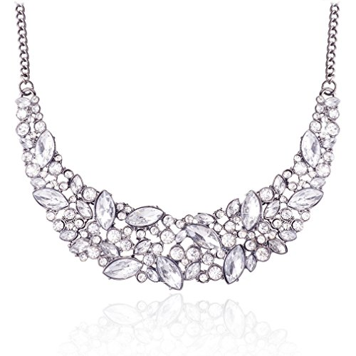 JANE STONE Fashion Luxurious Bling Bling Crystal Statement Necklace Black Plated Chain Chunky Choker Jewelry for Wedding(Fn1054)