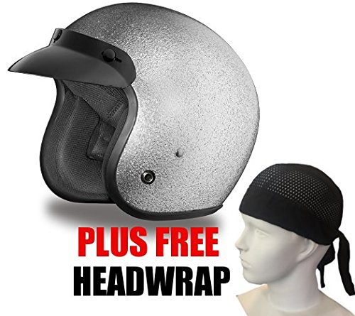 Daytona Cruiser D.O.T. Oepn Face Motorcycle Helmet Silver Metal Flake Small + Free Headwrap