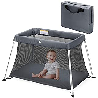 HEAO Portable Baby Playpen Playard with Soft Washable Mattress, Travel Pack 'n Play Crib with Carry Bag, Breathable Mesh Fabric Grey