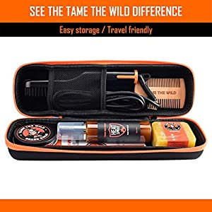 Tame's Easy Glide Beard Straightener Essentials Kit - Anti Scald Beard Straightening Comb - With Heat Spray - Beard Soap - Beard Balm - Detangle Comb - Storage Case.