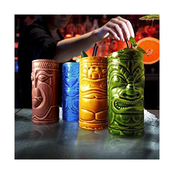 MikaMax – Tiki Mugs Set – Bicchierini Tiki Set di 4 – Tiki Cocktail Mai Tai – Bicchieri da Cocktail – Cocktail Tiki… 4 spesavip