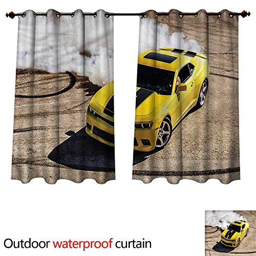 cobeDecor Manly Home Patio Outdoor Curtain Racer Speedy Sports Car W55 x L72(140cm x 183cm)