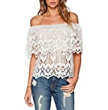 Fancymix Women's Tops Sexy Off Shoulder White Lace Crochet Blouse (US6)